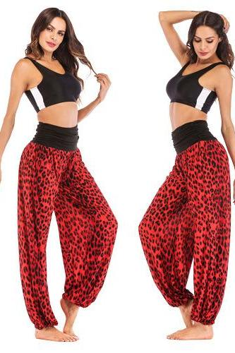 Women Leopard Printed Yoga Pants High Waist Daily Casual Loose Long Wide Leg Sport Workout Trousers red