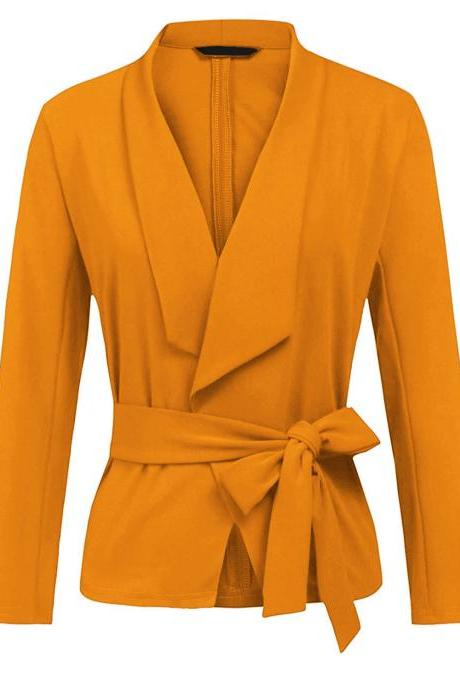 Women Blazer Coat Autumn Long Sleeve Belted Casual Work Office Lady Slim Suit Jacket yellow