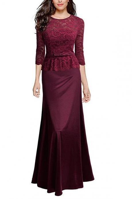 Women Floral Lace Maxi Dress 3/4 Sleeve Slim Peplum Long Evening Party Bridesmaid Dress wine red