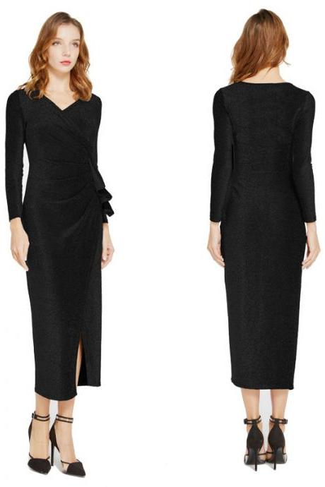 Women Wrap Dress V-Neck Long Sleeve Split Casual Midi Bodycon Pencil Club Party Dress black