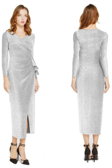 Women Wrap Dress V-Neck Long Sleeve Split Casual Midi Bodycon Pencil Club Party Dress silver