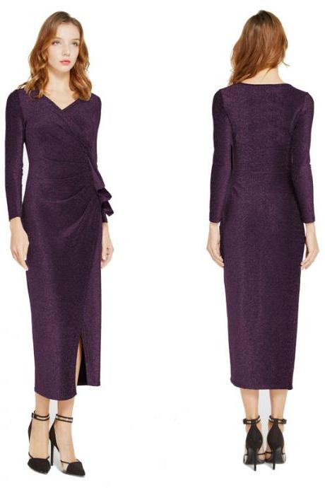 Women Wrap Dress V-Neck Long Sleeve Split Casual Midi Bodycon Pencil Club Party Dress purple