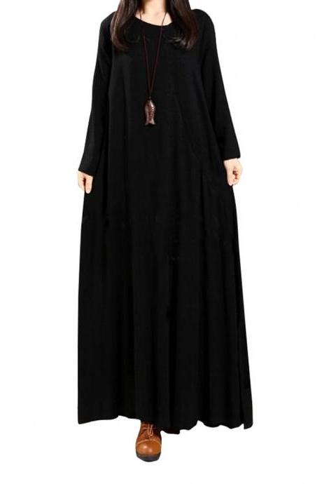 Women Maxi Dress National Style Button Long Sleeve Streetwear Casual Loose Long Dress black
