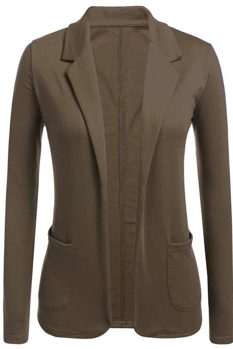 Women Blazer Coat Autumn Casual Long Sleeve Work Office Business Lady Slim Suit Jacket brown