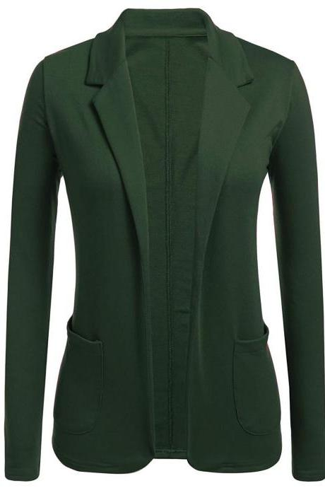 Women Blazer Coat Autumn Casual Long Sleeve Work Office Business Lady Slim Suit Jacket green