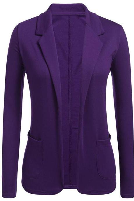 Women Blazer Coat Autumn Casual Long Sleeve Work Office Business Lady Slim Suit Jacket purple