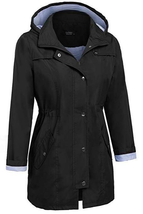Women Casual Coat Spring Autumn Slim Hooded Waterproof Raincoat Long Jacket Windbreake black