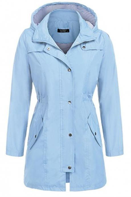Women Casual Coat Spring Autumn Slim Hooded Waterproof Raincoat Long Jacket Windbreaker sky blue