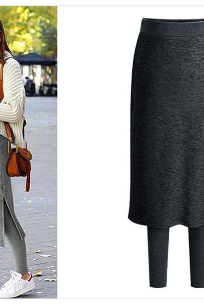 Women Fleece Skirt Pants Autumn Winter Thick Elastic Waist Plus Size Two Pieces Warm Trousers dark gray
