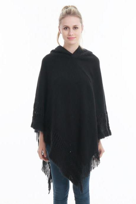 Women Tassel Cape Coat Autumn Winter Knitted Hollow out Hooded Fringe Poncho Asymmetrical Tops black