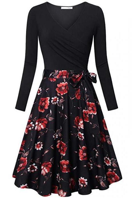 Women Floral Printed Dress V Neck Long Sleeve Patchwork Casual A Line Work Office Party Dress black+red rose
