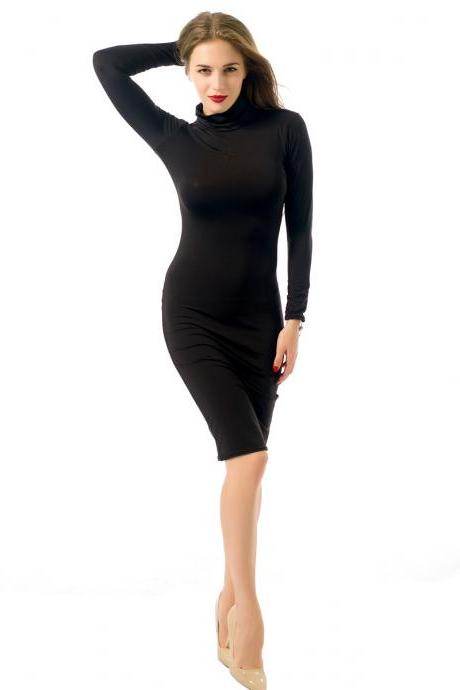 Women Midi Pencil Dress Autumn Turtleneck Long Sleeve Solid Bodycon Night Club Party Dress black