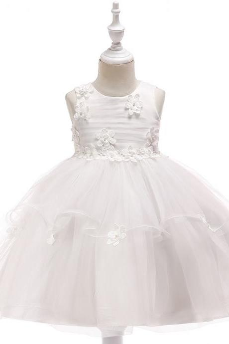 Lace Flower Girl Dress Sleeveless Wedding Formal Birthday Party Tutu Gown Children Clothes off white