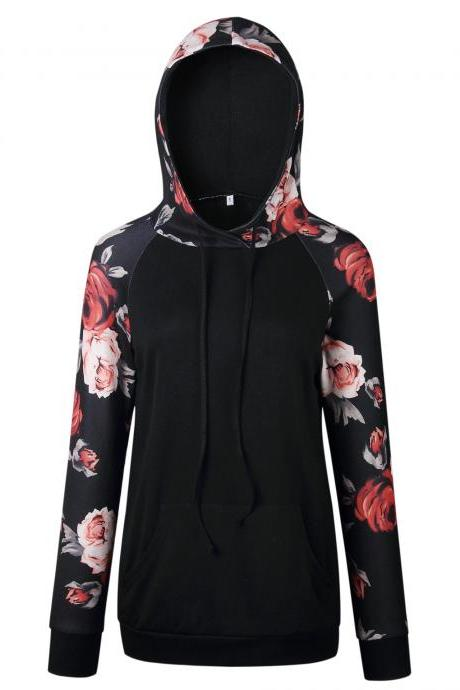 Women Hoodies Autumn Floral Printed Patchwork Long Sleeve Drawstring Hooded Casual Sweatshirt black