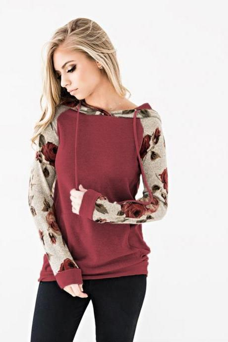 Women Hoodies Autumn Floral Printed Patchwork Long Sleeve Drawstring Hooded Casual Sweatshirt crimson