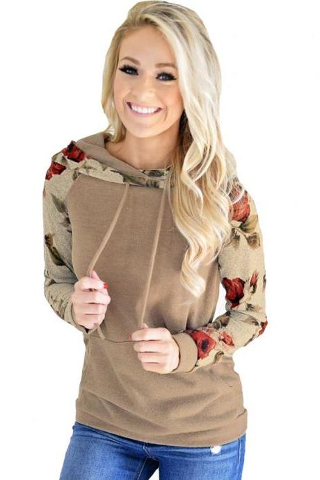 Women Hoodies Autumn Floral Printed Patchwork Long Sleeve Drawstring Hooded Casual Sweatshirt khaki