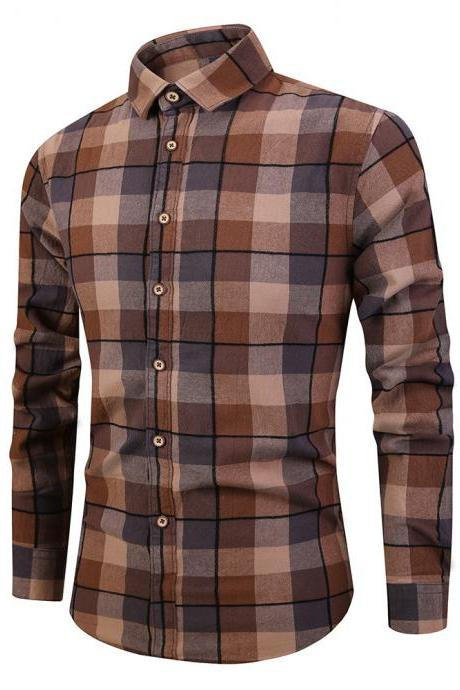 Men Plaid Printed Shirt Autumn Long Sleeve Buttons Single Breasted Casual Slim Fit Shirt brown