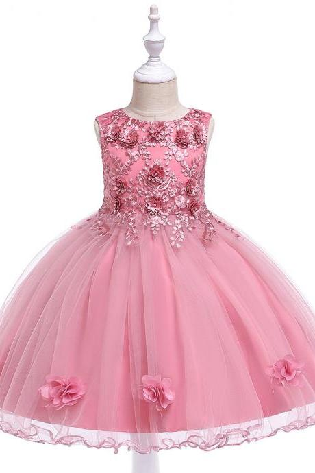 Lace Flower Girl Dress Sleeveless Princess Formal Perform Birthday Party Tutu Gown Children Clothes blush