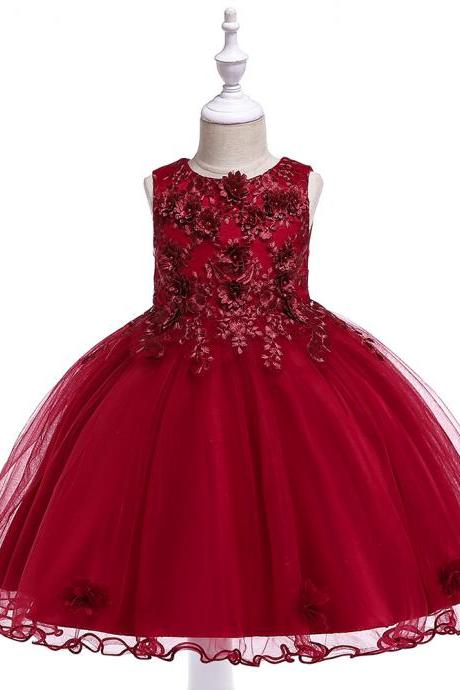 Lace Flower Girl Dress Sleeveless Princess Formal Perform Birthday Party Tutu Gown Children Clothes crimson
