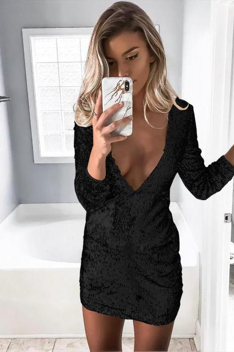 Women Sequin Dress Sexy Deep V Neck Long Sleeve Bodycon Mini Night Club Party Dress black