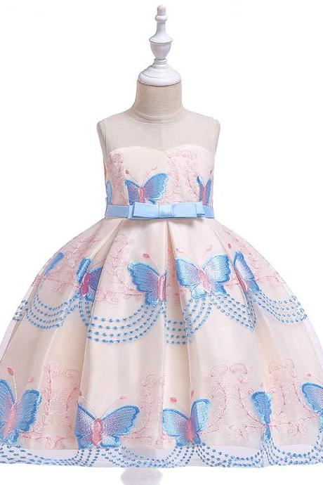 Butterfly Embroidery Flower Girls Dress Princess Party Pageant Formal Birthday Gown Kids Children Clothes sky blue