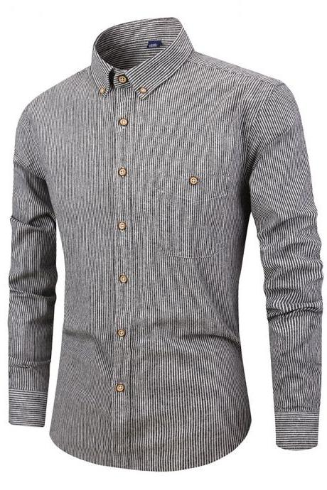 Men Striped Shirt Fashion Long Sleeve Turn-down Collar Button Casual Slim Fit Business Shirt gray