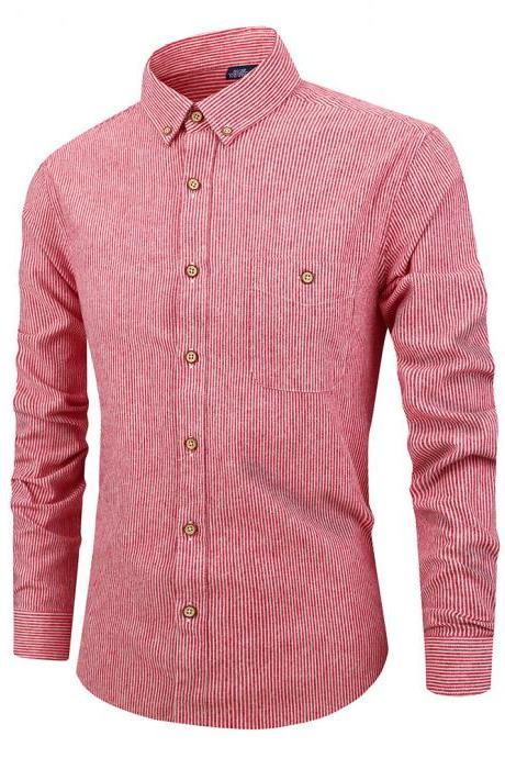 Men Striped Shirt Fashion Long Sleeve Turn-down Collar Button Casual Slim Fit Business Shirt watermelon red