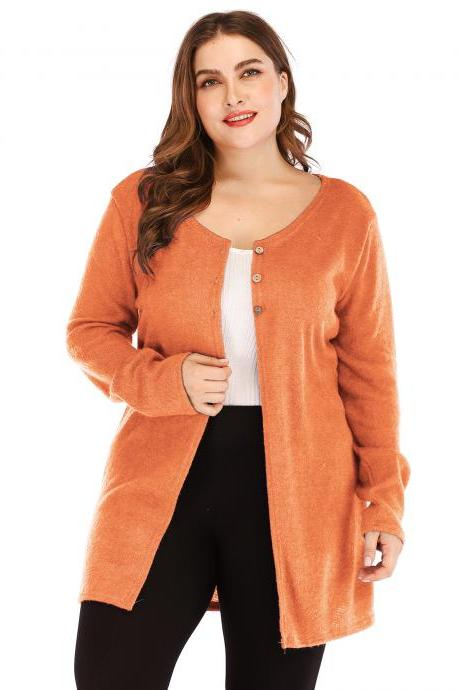 Women Cardigan Coat Autumn Long Sleeve Button Casual Basic Plus Size Jacket orange