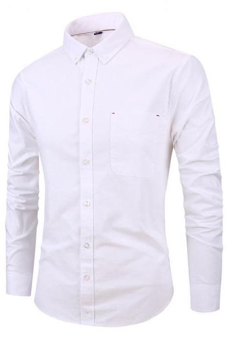 Men Shirt Fashion Long Sleeve Turn-down Collar Button Solid Cotton Casual Slim Fit Business Shirt off white