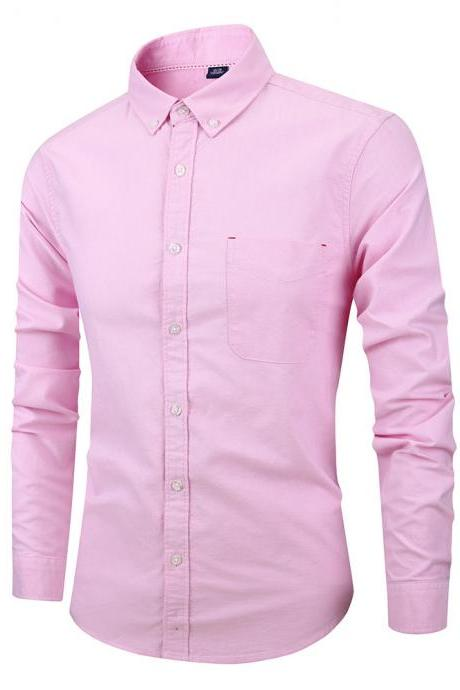 Men Shirt Fashion Long Sleeve Turn-down Collar Button Solid Cotton Casual Slim Fit Business Shirt pink