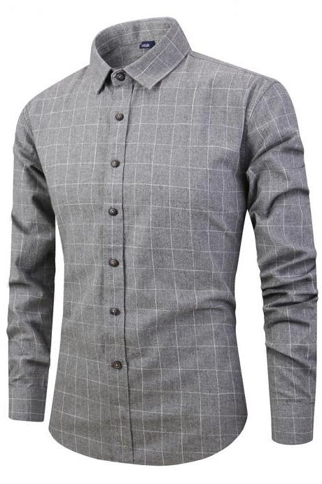 Men Plaid Shirt Spring Autumn Single Breasted Long Sleeve Cotton Slim Fit Casual Shirt gray