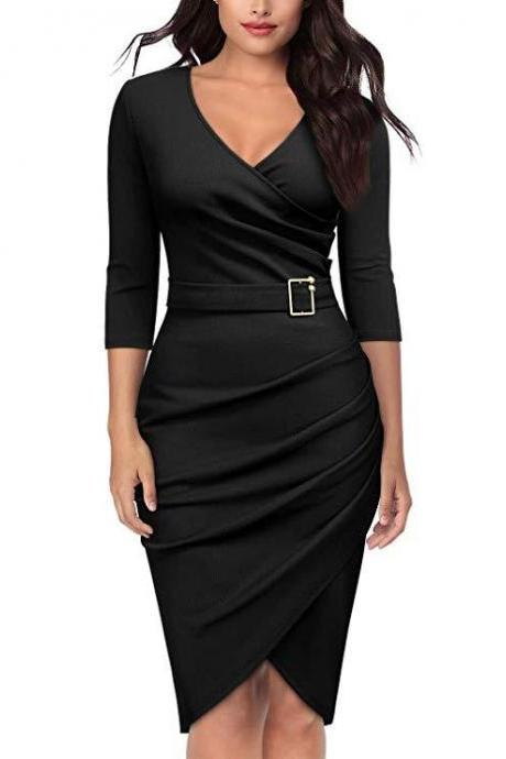 Women Pencil Dress V Neck 3/4 Sleeve Belted Sheath Bodycon Work Club Party Dress black