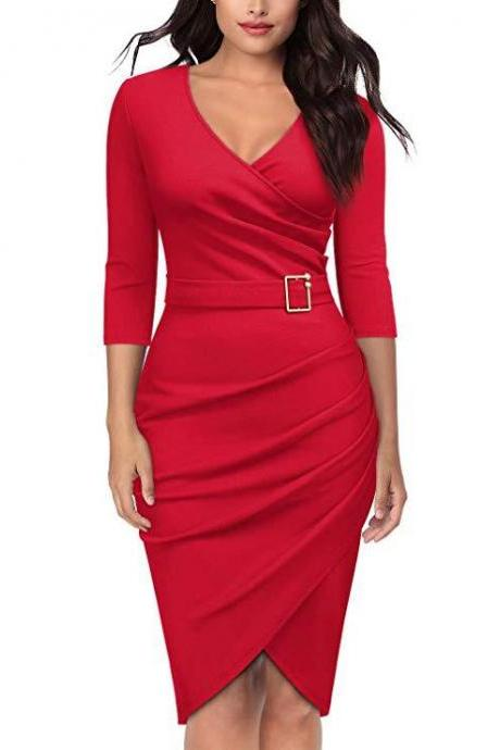 Women Pencil Dress V Neck 3/4 Sleeve Belted Sheath Bodycon Work Club Party Dress red