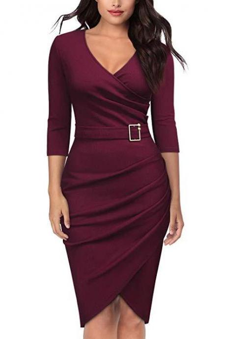 Women Pencil Dress V Neck 3/4 Sleeve Belted Sheath Bodycon Work Club Party Dress wine red