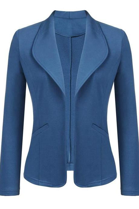 Women Blazer Coat Autumn Long Sleeve Work Office Casual Cardigan Slim Suit Jacket Outwear blue