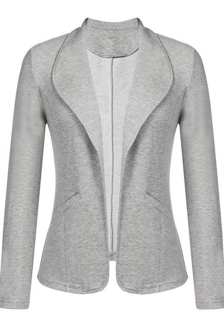 Women Blazer Coat Autumn Long Sleeve Work Office Casual Cardigan Slim Suit Jacket Outwear gray