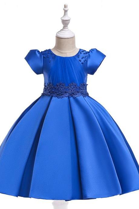 Beaded Flower Girl Dress Short Sleeve Wedding Formal Princess Perform Party Gown Children Kids Clothes royal blue