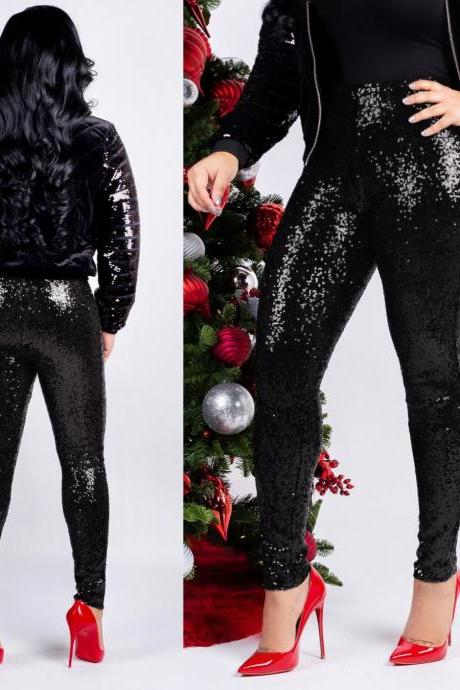 Women Sequined Pencil Pants With Lining Sexy Skinny Slim Night Club Party Trousers black