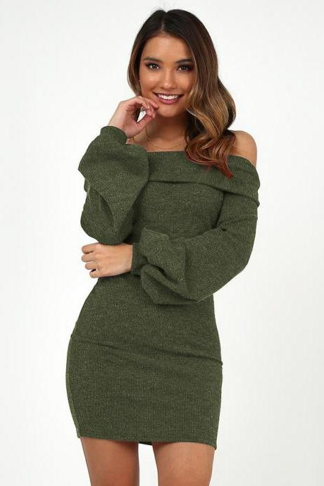 Women Casual Dress Off Shoulder Slash Neck Long Lantern Sleeve Bodycon Mini Night Club Party Dress army green