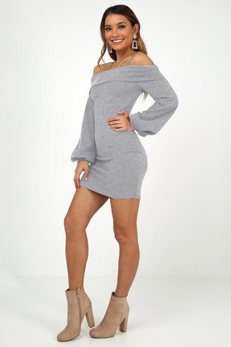 Women Casual Dress Off Shoulder Slash Neck Long Lantern Sleeve Bodycon Mini Night Club Party Dress gray