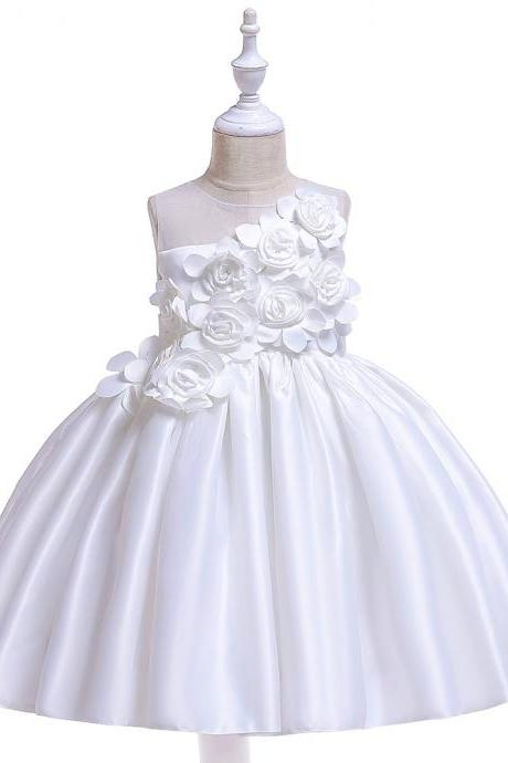 Satin Flower Girl Dress Sleeveless Wedding Formal Birthday Princess Party Tutu Gowns Children Kids Clothes off white