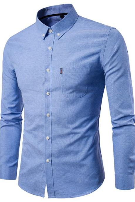 Men Shirt Spring Autumn Long Sleeve Turn-down Collar Single Breasted Plus Size Business Formal Casual Slim Fit Shirt blue