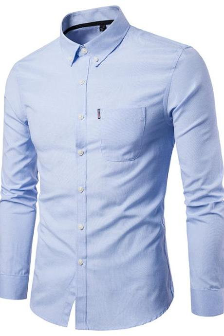 Men Shirt Spring Autumn Long Sleeve Turn-down Collar Single Breasted Plus Size Business Formal Casual Slim Fit Shirt light blue