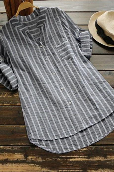 Women Striped Blouse Spring Autumn V Neck Half Sleeve Work Office Plus Size Casual Loose Shirt black