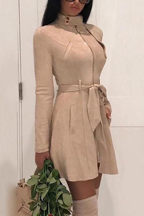 Women Faux Suede Trench Coat Spring Autumn Long Sleeve Slim Belted Jacket Outerwear khaki