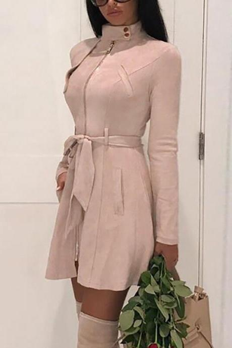 Women Faux Suede Trench Coat Spring Autumn Long Sleeve Slim Belted Jacket Outerwear pale pink