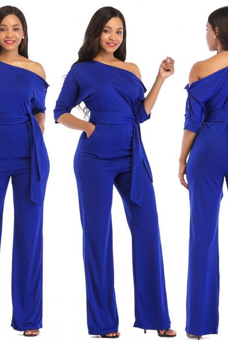 Women Jumpsuit Off the Shoulder Half Sleeve Plus Size Belted Wide Leg Rompers Overalls blue