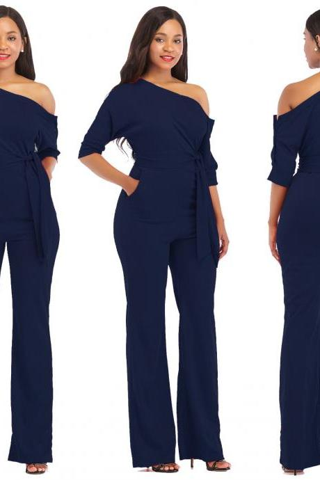 Women Jumpsuit Off the Shoulder Half Sleeve Plus Size Belted Wide Leg Rompers Overalls navy blue