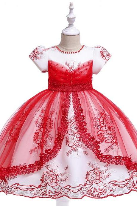 Princess Flower Girl Dress Lace Short Sleeve Wedding Formal Embroidery Birthday Party Gown Children Kids Clothes red