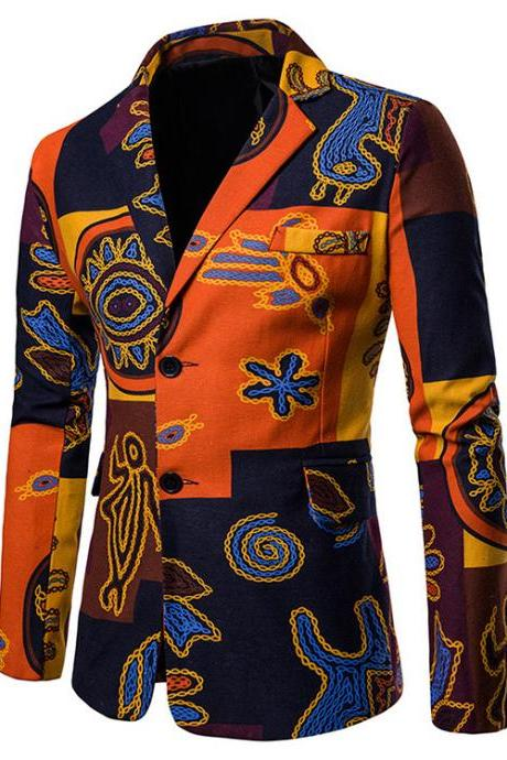 Men Blazer Coat Spring Autumn Africa National Style Printed Slim Fit Casual Male Suit Jacket X07